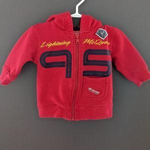 Disney Cars Lightning McQueen red zip up hoodie